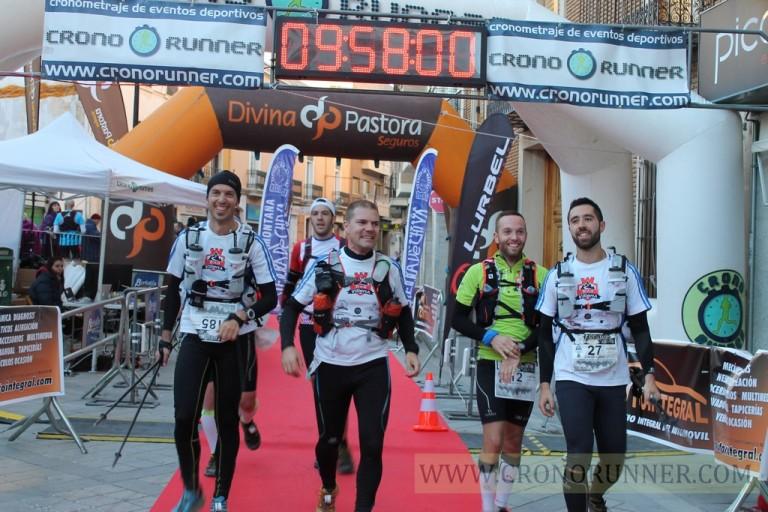 José Francisco, Pedro, Vicente y Luis entrando juntos a meta después de casi diez horas de carrera