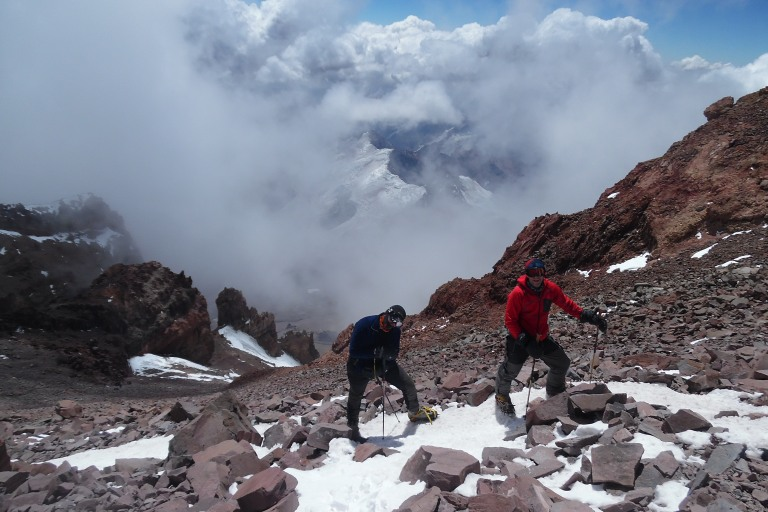 Rai durante el ascenso al Aconcagua