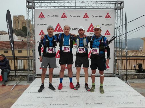 Moisés, José Antonio, Paco y Miguel listos para el inicio de la prueba de Trail 48K